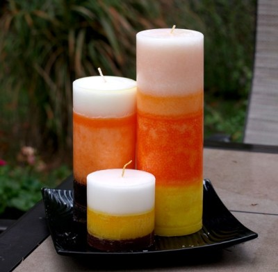Three Candy Corn Pillar Candles