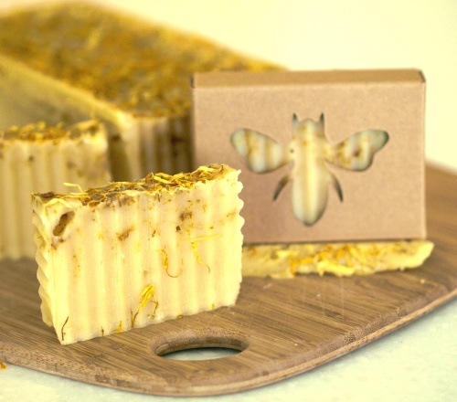 Sunflower Honeycomb Soap with Beeswax and Calendula Petals